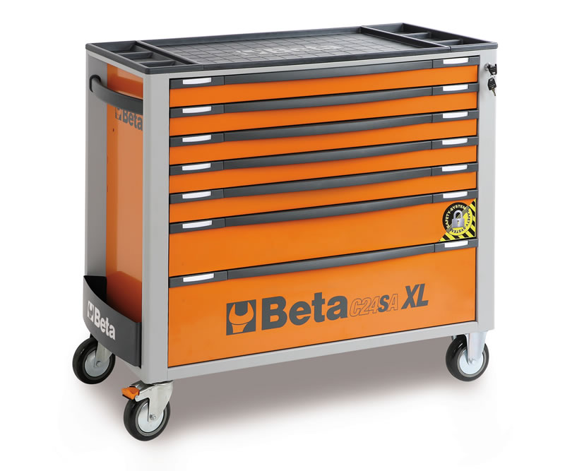 beta c24sa xl 7 o gereedschapswagen 024002271 oranje anti omval 7 laden toolsxl online. Black Bedroom Furniture Sets. Home Design Ideas