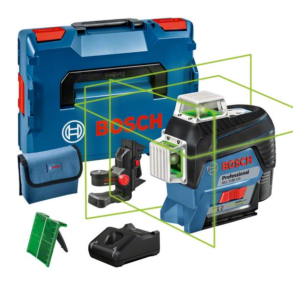 bosch gll 3 80 cg lijnlaser 12 v 2 0 ah li ion 30 m connected l boxx toolsxl online. Black Bedroom Furniture Sets. Home Design Ideas