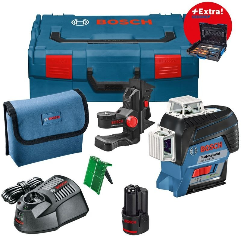 bosch gll 3 80 cg lijnlaser 12 v 2 0 ah groen 30 m l boxx gedore toolsxl online. Black Bedroom Furniture Sets. Home Design Ideas
