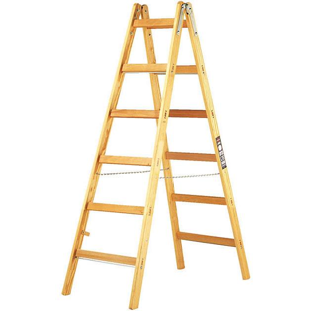 Robuuste Houten Ladder.Brennenstuhl 1481060 Ladder Hout Dubbel 2 X 6 Treden 1 7