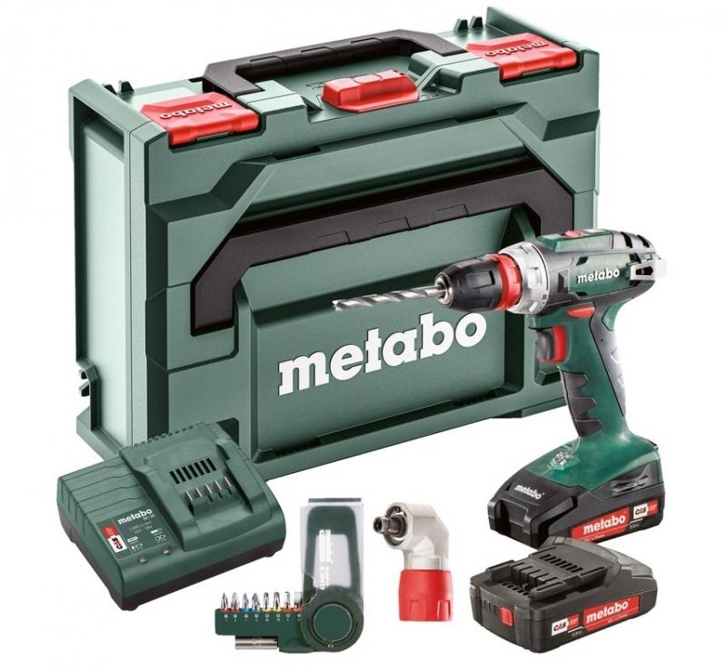 metabo bs 18 quick set accuboor 18v 2 0ah li ion quick koffer adapter en bitset toolsxl online. Black Bedroom Furniture Sets. Home Design Ideas