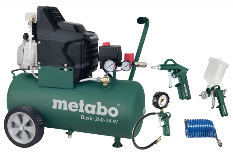 metabo basic 250 24 w compressor lucht oliegesmeerd 1 5 kw lpz 4 set toolsxl makita dewalt. Black Bedroom Furniture Sets. Home Design Ideas