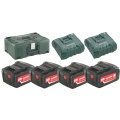 Metabo Basis set 4x Li-Ion 5,2Ah Basis Set | 4x Accu 18V 5,2Ah Li-Ion +2xLader ASC Ultra +MetaLoc