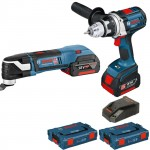 Bosch Blauw GOP 18V-28 +GSR18 VE-2-Li Multitool en boormachine  | Click and Go | 18V 4,0 Ah | L-Boxx