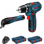 Bosch Blauw GSR 12-2-Li+GOP 12-Li Boormachine + Multitool | Click and Go | 12V 2,5Ah Li-Ion