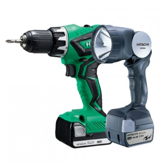 Hitachi DS14DJL(LA) + Lamp Accuboormachine | 14,4 Volt 1.5 Ah Li-Ion | + Koffer en Lamp