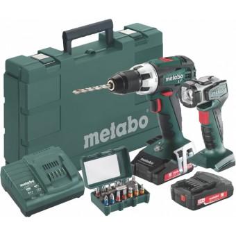 metabo bs 18 lt set accuboormachine 18v 2 0ah li ion koffer lamp en bitset toolsxl online. Black Bedroom Furniture Sets. Home Design Ideas